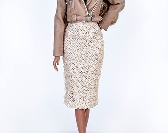 ELENPRIV beige sequined pencil skirt for Fashion royalty FR2 and similar body size dolls