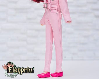 ELENPRIV pale pink leather pants for Blythe doll and similar body size dolls