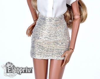 ELENPRIV golden mini skirt for Fashion royalty FR2 and similar body size dolls