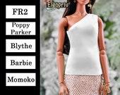 ELENPRIV ivory silk one shoulder top Choose size Fashion royalty FR2, Poppy Parker, Blythe, Barbie, Momoko and similar size dolls