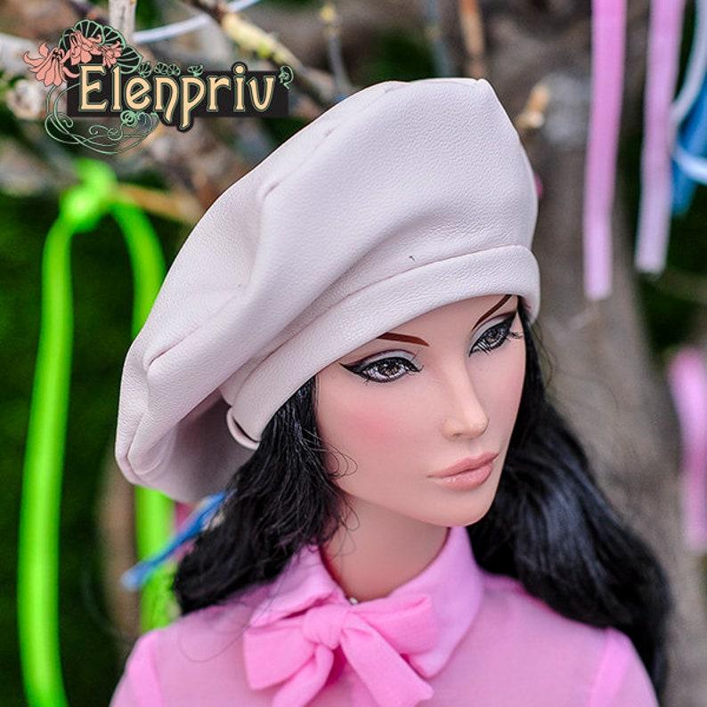 2fd650d4ae ELENPRIV pale pink leather beret for Fashion royalty FR:16 | Etsy