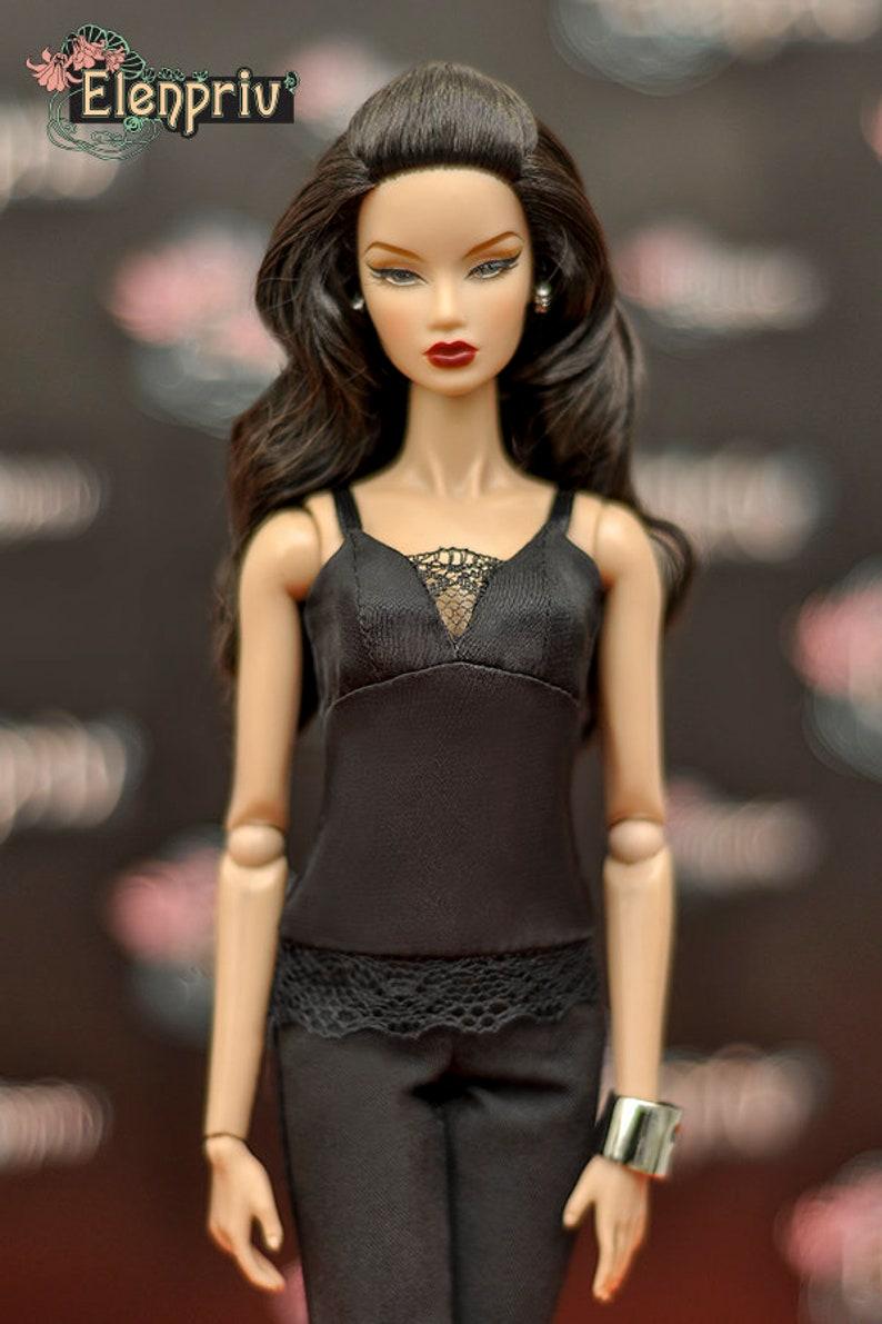 Barbie ELENPRIV black silk camisole top with lace {Choose size} Fashion royalty FR2 Momoko and similar size dolls Poppy Parker Blythe
