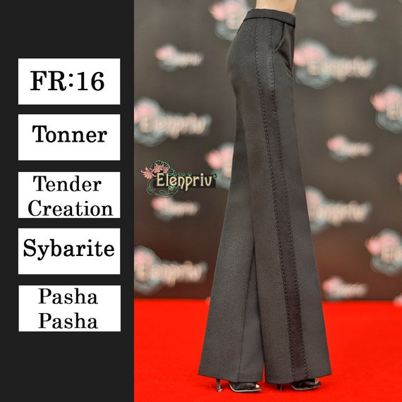 ELENPRIV black silk flared pants w//satin stripes and full lining for FR:16 dolls