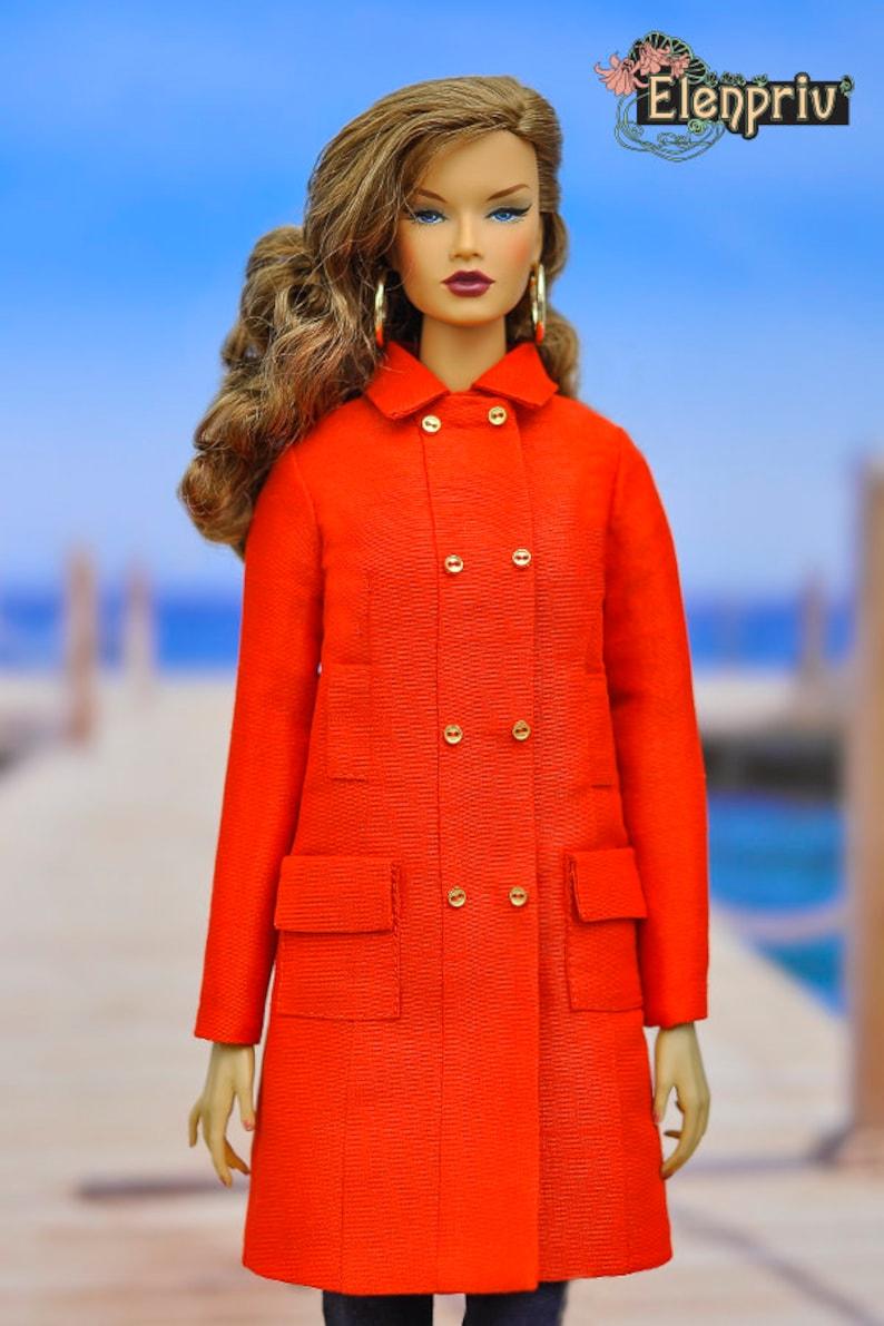 ELENPRIV red silk coat {Choose size} Fashion royalty FR:16 Sybarite Tonner PashaPasha Tender Creation Tulabelle and size dolls