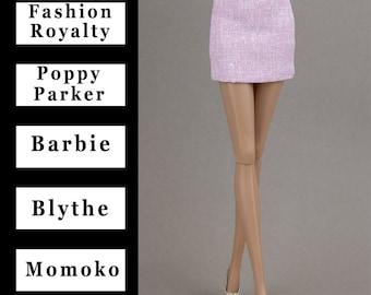 "Pale pink mini skirt {Choose size} Fashion royaltyFR2 Poppy Parker Blythe NuFace  Barbie MTM Repro Yoga Petit Pivotal Curvy Momoko 12"" dolls"