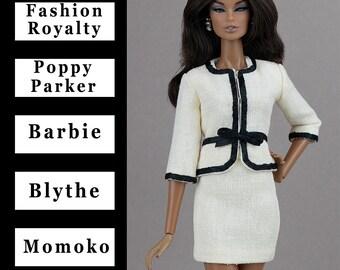 Ivory jacket w/black trim{Choose size} Fashion royalty FR2 Poppy Parker NuFace Blythe Barbie MTM Pivotal Repro East59 Silkstone Momoko dolls
