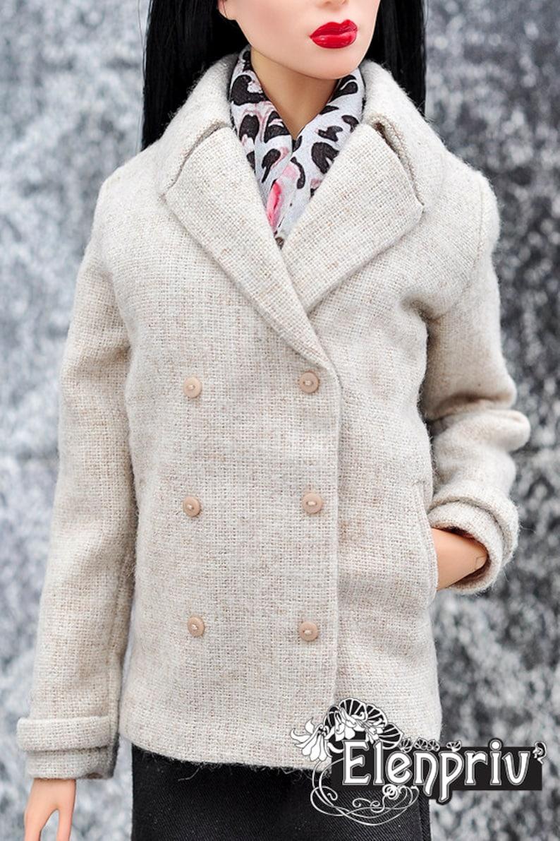 ELENPRIV beige wool pea coat with full satin lining {Choose size} Fashion royalty FR:16 Sybarite Tonner PashaPasha Tender Creation dolls