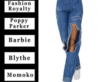"ELENPRIV blue ripped jeans {Choose size} Fashion royalty FR2 Poppy Parker Blythe Barbie Yoga Pivotal Silkstone Curvy MTM Momoko 12"" dolls"