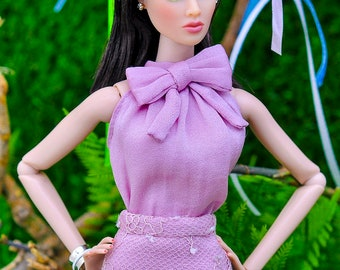 ELENPRIV lilac silk top with bow for Fashion royalty FR2 and similar body size dolls