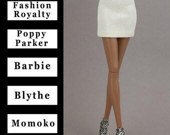 "Ivory mini skirt {Choose size} Fashion royaltyFR2 Poppy Parker Blythe NuFace  Barbie MTM Repro Yoga Petit Pivotal Curvy Momoko 12"" dolls"