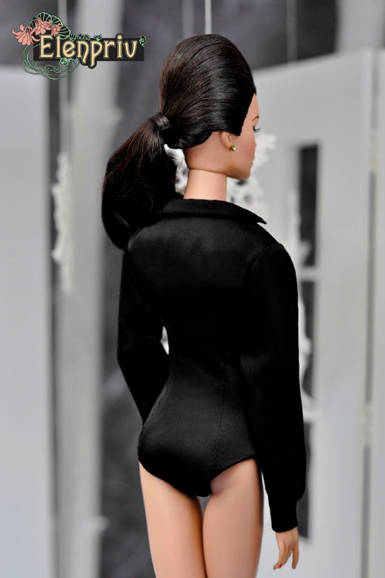 ELENPRIV black silk body shirt with lining {Choose size} Fashion royalty FR:16 Sybarite Tonner PashaPasha and similar dolls