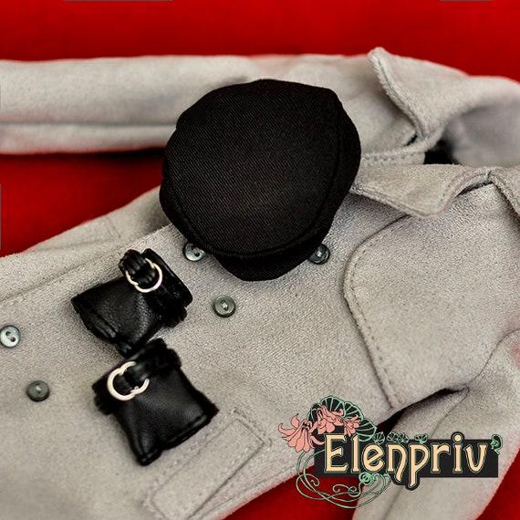 ELENPRIV black leather fingerless gloves with beads for Fashion royalty FR2 doll