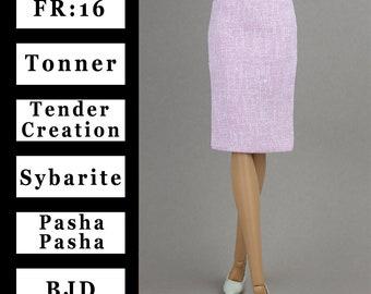 Pale pink pencil skirt with full lining {Choose size} Fashion royalty FR:16 Sybarite Tonner Tyler Chic RTB-101 Iplehouse FIDPashaPasha dolls