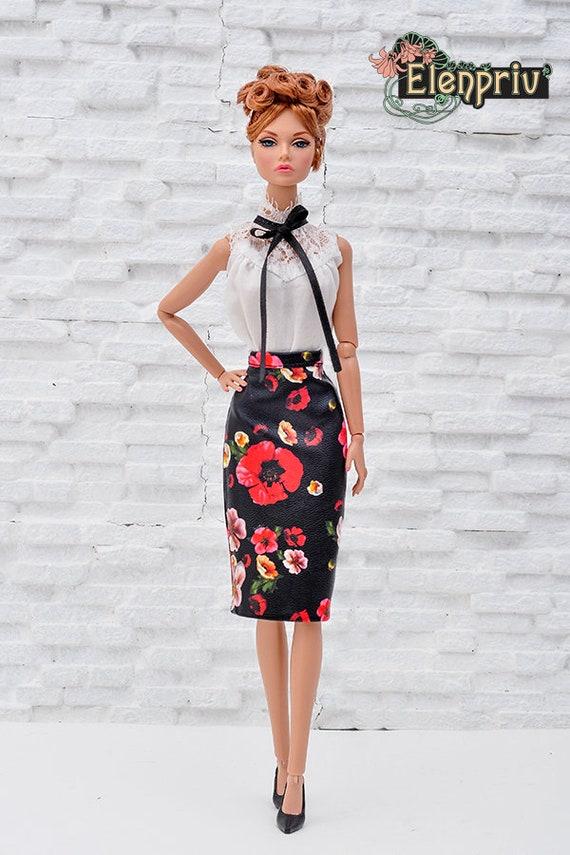 c129f0dbd1 ELENPRIV black poppy printed leather skirt for Poppy Parker | Etsy