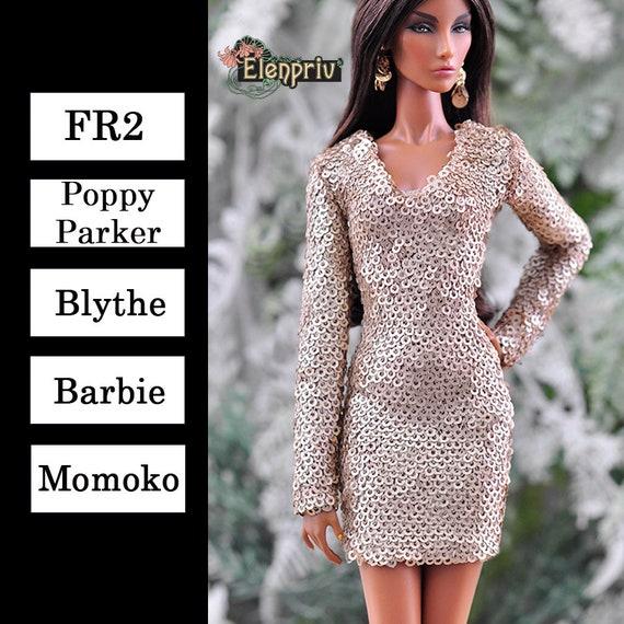 ELENPRIV golden sequined V-neck mini dress for Fashion royalty FR:16 dolls