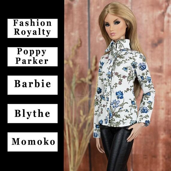 """ELENPRIV white blue flower printed shirt #001 for FR2 12/"""" and similar dolls"""