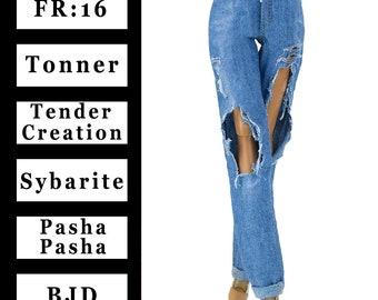 "ELENPRIV Blue ripped jeans {Choose size} Fashion royalty FR:16 Sybarite Tonner Tyler DejaVu PashaPasha Tender Creation 16"" dolls clothes"