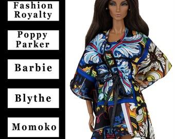 ELENPRIV Multicolored kaftan {Choose size} Fashion royalty FR2, Poppy Parker, Blythe, Barbie, Momoko and similar size dolls