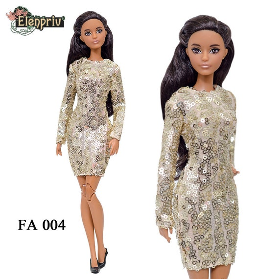 ELENPRIV FA004 red jersey mini-dress for Barbie Pivotal MTM Curvy dolls