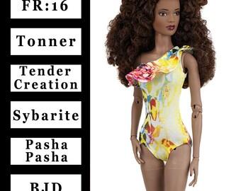 "ELENPRIV  asymmetric multicolored swimsuit {Choose Size}  FR:16 Sybarite Tonner PashaPasha Tender Creation similar 16"" size dolls"