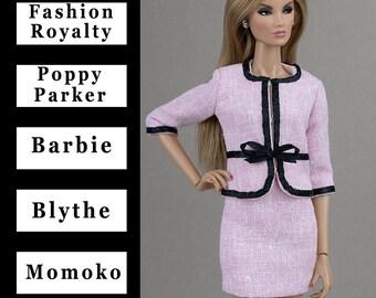 Pale pink jacket w/black trim{Choose size} Fashion royalty FR2 Poppy Parker NuFace Blythe Barbie Pivotal Repro East59 Silkstone Momoko dolls