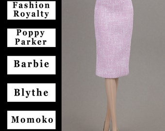 "Pale pink pencil skirt w/lining {Choose size} Fashion royalty FR2 NuFace Poppy Parker Blythe Barbie MTM Pivotal Yoga Repro Momoko 12"" dolls"