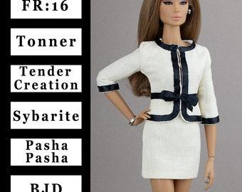 Ivory jacket w/black trim {Choose size} Fashion royalty FR:16 Sybarite Tonner Tyler PashaPasha Iplehouse FID Tender Creation Tulabelle dolls