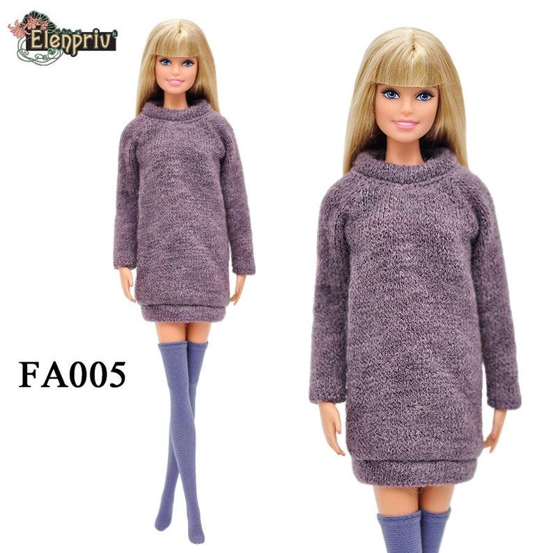 ELENPRIV FA008 red checkered dress for Barbie Pivotal Made-to-Move FR2 dolls