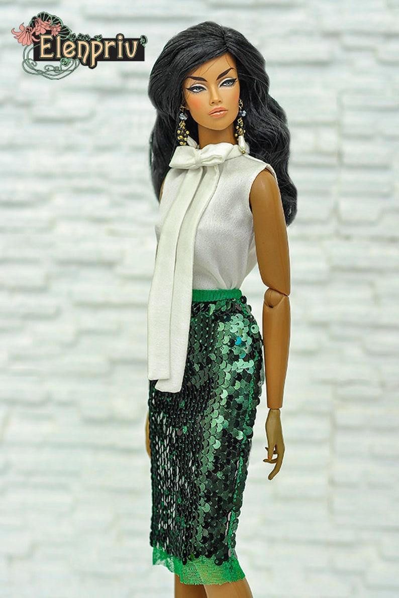 193ef5f27b ELENPRIV green sequined pencil skirt 2 for Fashion royalty | Etsy