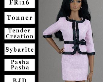 Pale pink jacket w/black trim {Choose size} Fashion royalty FR:16 Sybarite Tonner PashaPasha Iplehouse FID Tender Creation Tulabelle dolls