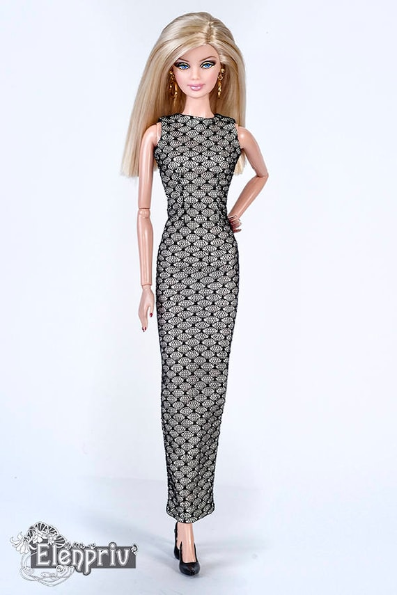 Elenpriv Black Lace Gown With Full Beige Chiffon Lining For Barbie Pivotal Body Dolls And Similar Size Dolls