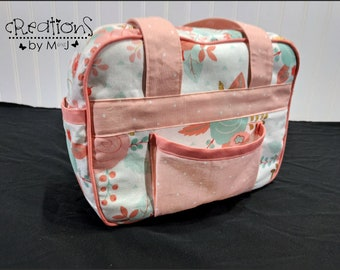 Doll diaper bag, child's purse, small bag, pretend play, sibling gift Flowers Pink Trim