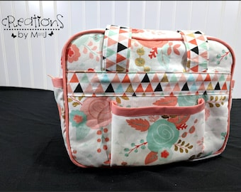 Doll diaper bag, child's purse, small bag, pretend play, sibling gift Flowers Multi Color Trim