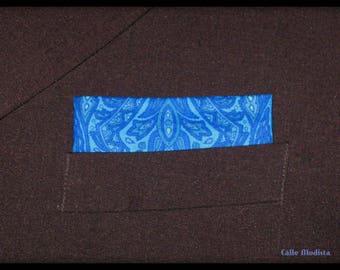 Blue Paisley Pocket Square, Blue Paisley Handkerchief, Cotton handkerchief, Suit Pocket Square, 60s Mod Style, Dandy, Wedding,