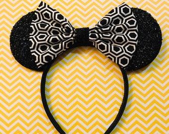 16cadfdb7874 Cute Black and White Hexagon Print Bow Tie inspired Black Sparkle Minnie  Mouse Headband Ears