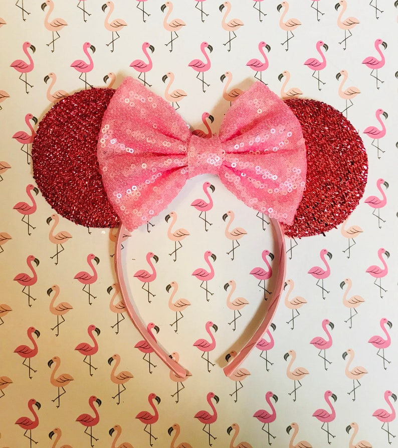Cute Millennial Pretty in Pink inspired Pink Sparkle Minnie Mouse Headband Ears