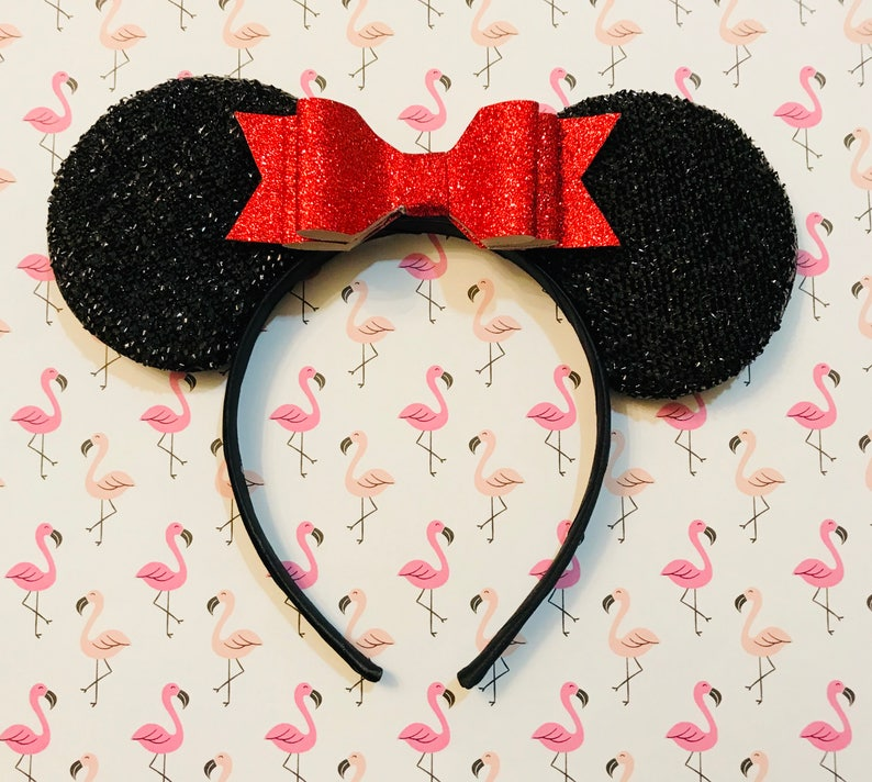 Cute Red Glitter Bow inspired Black Sparkle Minnie Mouse Headband Ears
