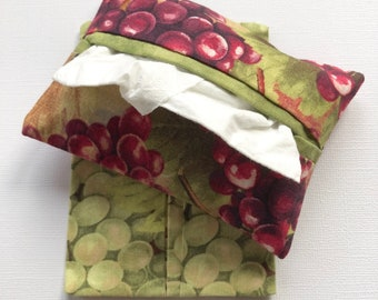 Purse Tissue Holders- Red and Green Grapes Fabric- Pocket Tissue Holder- Handmade- Tissue Packet Case- Gift Under 10- Tissue Packet Cover