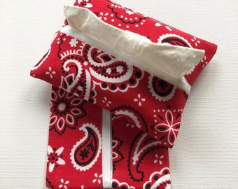 Purse Tissue Holders- Red Bandana Fabric- Tissue Packet Cover- Purse Accessory- Red Paisley Fabric- Tissue Packet Case- Pocket Tissue Holder
