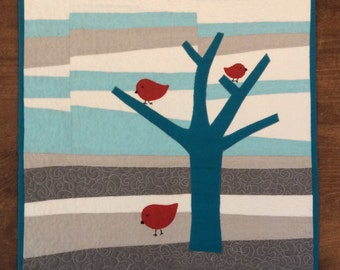 Red birds in tree quilt , Quilted Art, quilted wall hanging, home decor, fabric art