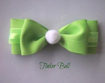 Tinkerbell Bow, Disney Hair Bow, Disneybound, Hair Bows,Hair Accessories