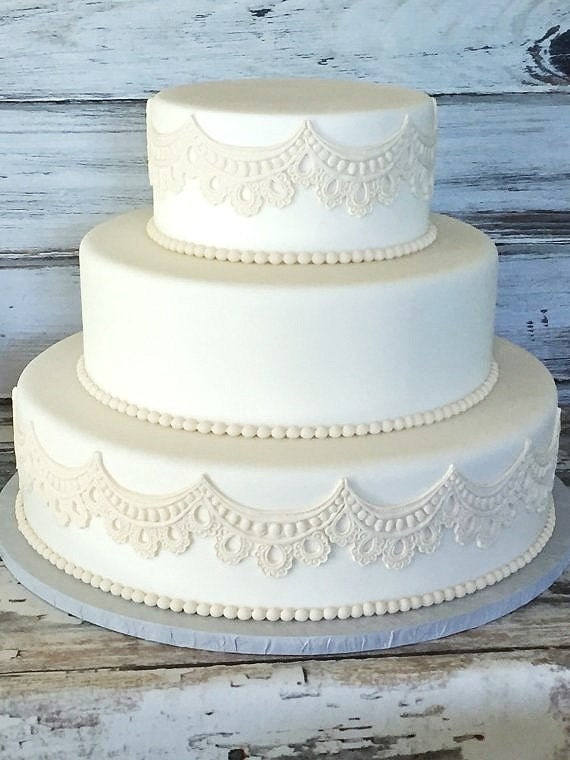 fake wedding cakes uk three tier fondant wedding cake wedding cake faux etsy 14143