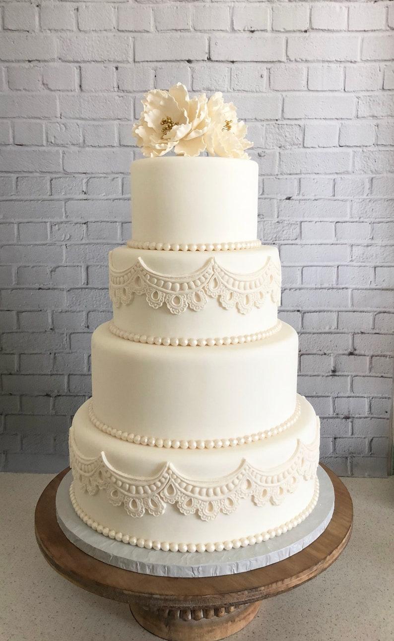 Four Tier Fondant Wedding Cake Fake Wedding Cake Faux Etsy