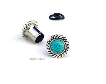 """Turquoise silver plugs in sizes: 0g 11/32"""" 00g 7/16"""" 1/2"""" 9/16"""" 5/8"""" 8mm 9mm 10mm 11mm 12mm 14mm 16mm"""