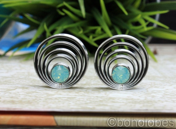 Plugs tunnels Swarovski crystal stainless steel for gauged stretched ears Size