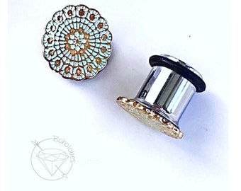 Plugs gauges Mandala plugs bohemian plugs pink round gold toned lace plugs sizes: 6g, 4g, 2g, 1g, 0g, 00g