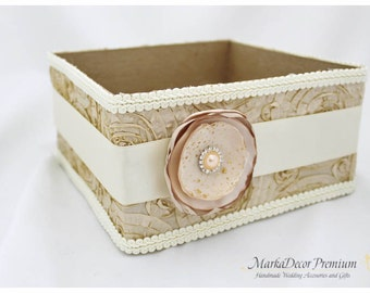 Program Box / Amenities Box /Bubble Favors Box / Custom Made Wedding Box / Gift Holder in Champagne, Tan and Ivory