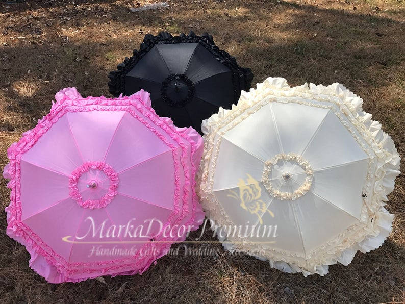 0a934541e2535 Ready To Ship Medium Wedding Parasol Bridal Umbrella with Multi Layers of  Gorgeous Fabric 1pc