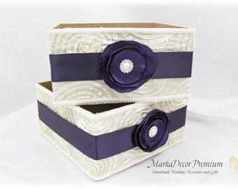 Set of 2 Program Boxes / Amenities Box /Bubble Favors Box / Custom Made Wedding Box / Gift Holder in Ivory, Lapis Purple