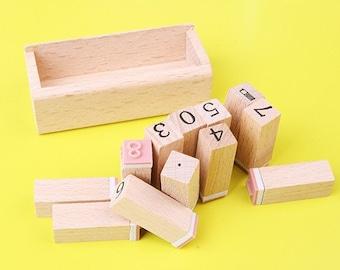 Number Stamp Set  -- Wooden Rubber Stamp Set -- Korean Stamps - Diary Stamps -- 12 pcs